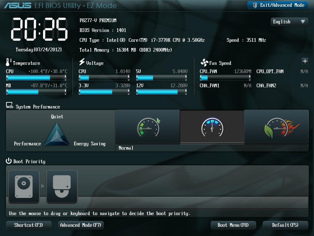 ASUS P8Z77-V Premium BIOS 01 - EZ Mode